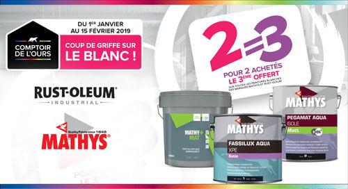 Promo sur les pots de peinture blanche Mathys ou Rust-Oleum